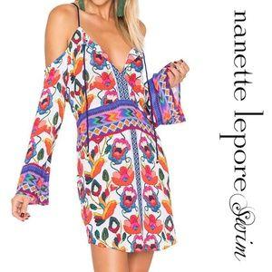 Nanette Lepore Womens Ensenada Cold Shoulder Printed Dress Swim Cover-Up